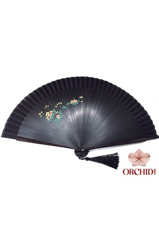1122 black base gold leaf | Handpainted Design Tortoise-shell Bamboo And Silk Folding Hand Fan