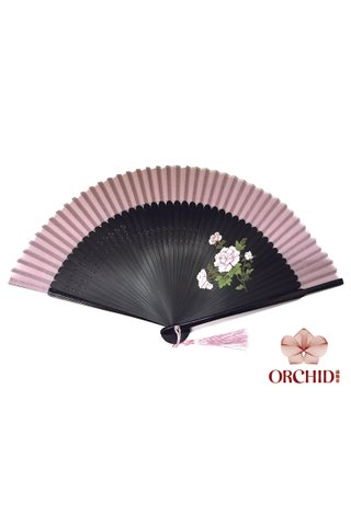 1122 peony| Handpainted Design Tortoise-shell Bamboo And Silk Folding Hand Fan