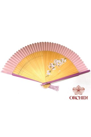 1122 sakura | Handpainted Design Tortoise-shell Bamboo And Silk Folding Hand Fan