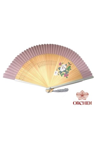 1122 white peony | Handpainted Design Tortoise-shell Bamboo And Silk Folding Hand Fan