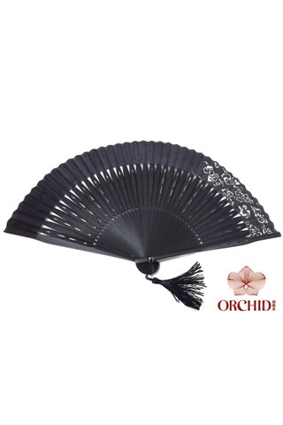 1122 black base white cloud | Chinese Hand Fan Made of Tortoise-shell Bamboo And Silk