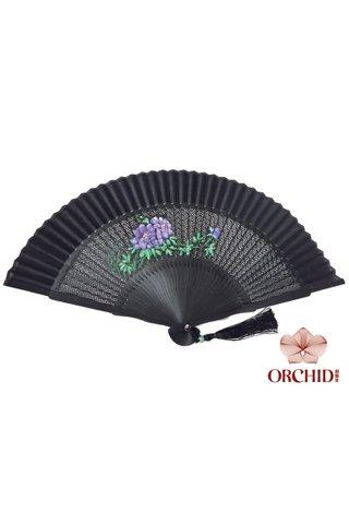 1122 peony | Handpainted Peony Design Bamboo And Silk Hand Fan
