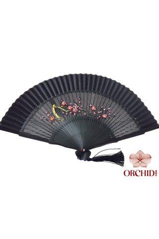 1122 plum | Handpainted Plum Design Bamboo And Silk Hand Fan