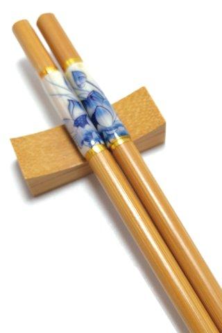Imitation Porcelain Blue Lotus Design | Natural Wooden Chopsticks and Holders Dining Set