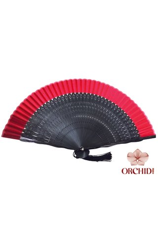 497 20.5cm red | Chinese Handmade Tortoise-shell Bamboo And Silk Fan