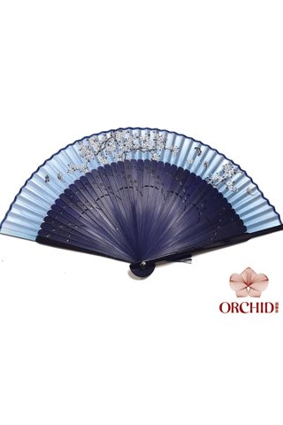 497blue white plum | Chinese Hand Fan Made of Tortoise-shell Bamboo And Silk