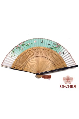 497g peach | Chinese Hand Fan Made of Tortoise-shell Bamboo And Silk