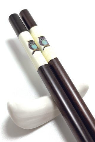 Imitation Porcelain Owl Design | Natural Wooden Chopsticks and Holders Dining Set
