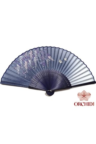 827-11 | Handmade Butterfly And Flower Design Bamboo And Silk Fan