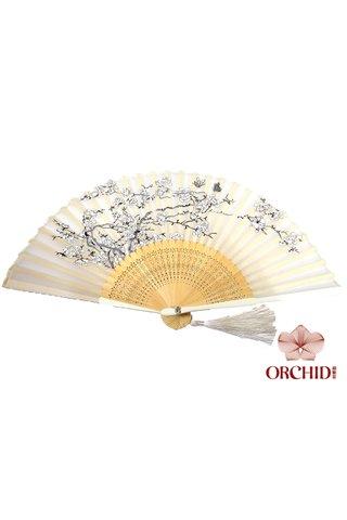 827-99 | Bamboo And Silk Flower Design Hand Fan