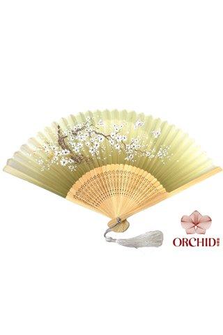 82796 | Bamboo And Silk Flower Design Hand Fan