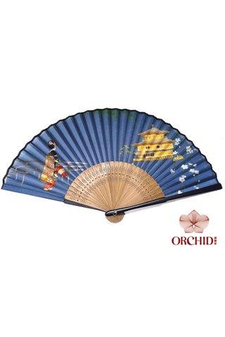 827 blue lady | Chinese Style Folding Hand Fan