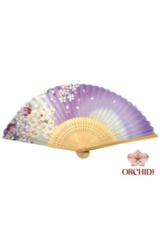 827purple | Handmade Flower Design Bamboo And Silk Fan