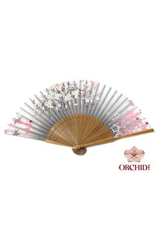 827 sakura star | Bamboo And Silk Flower Design Hand Fan