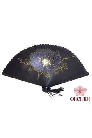 8400003 peony | Handpainting Shiny Flower Design | Handmade Tortoise-shell Bamboo Folding Hand Fan
