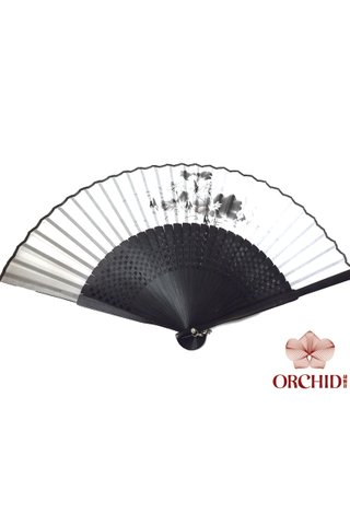 8400003 lotus | Chinese Style Handmade Tortoise-shell Bamboo And Silk Hand Fan