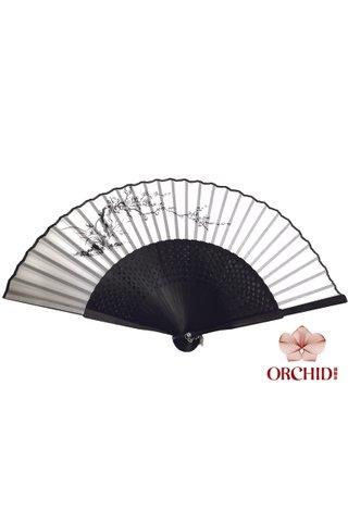 8400003 plum | Chinese Style Handmade Tortoise-shell Bamboo And Silk Hand Fan