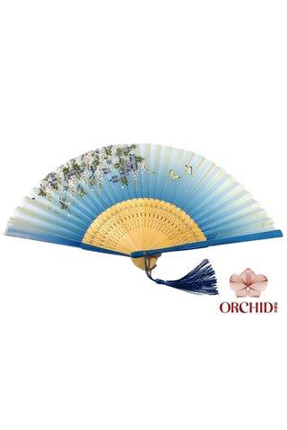 8482716 | Handmade Butterfly And Flower Design Bamboo Silk Hand Fan