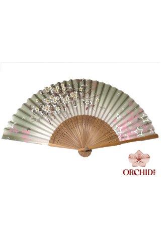 8482755 | Bamboo And Silk Floer Design Hand Fan
