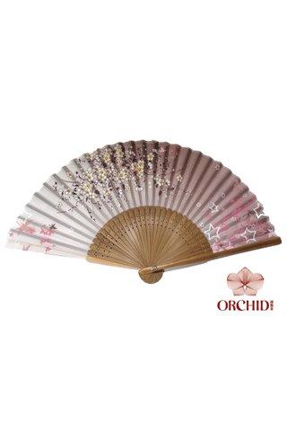 8482755 pink | Bamboo And Silk Flower Design Hand Fan