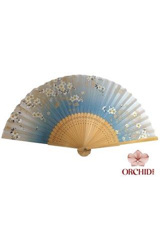 8482792 blue | Bamboo And Silk Flower Design Hand Fan
