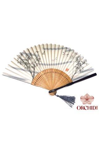 84827 white bamboo | Bamboo Design Hand Fan