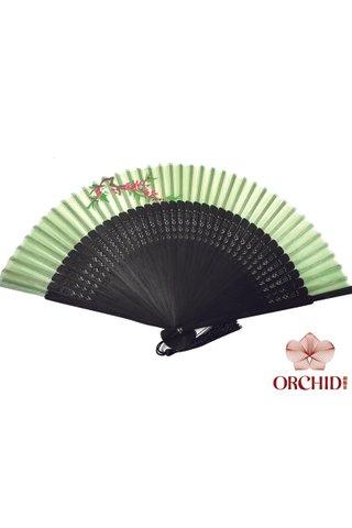 849-02 light green | Handpainted Design Tortoise-shell Bamboo And Silk Folding Hand Fan