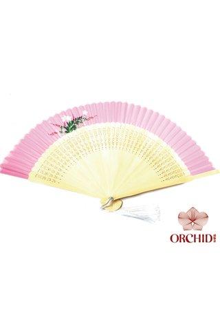 849-04 | Handpainted Design Tortoise-shell Bamboo And Silk Folding Hand Fan