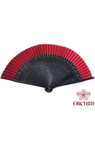 861 black base red | Chinese Handmade Tortoise-shell Bamboo And Silk Fan