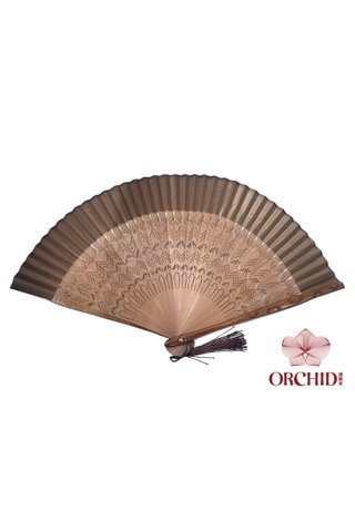 861 brown base brown | Chinese Handmade Tortoise-shell Bamboo And Silk Fan