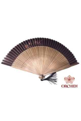 861 brown base red plum | Handpainted Design Tortoise-shell Bamboo And Silk Folding Hand Fan
