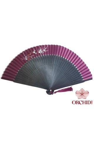 861 purple base white plum | Handpainted Design Tortoise-shell Bamboo And Silk Folding Hand Fan