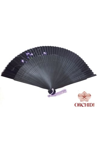 861 black base orchid | Handpainted Design Tortoise-shell Bamboo And Silk Folding Hand Fan