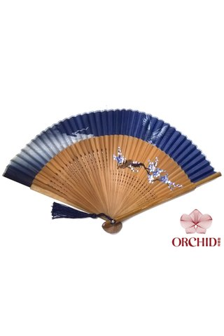 861 cloud | Handpainted Design Tortoise-shell Bamboo And Silk Folding Hand Fan