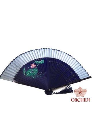 861 light blue | Handpainted Design Tortoise-shell Bamboo And Silk Folding Hand Fan