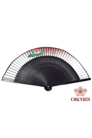 861 peony| Handpainted Design Tortoise-shell Bamboo And Silk Folding Hand Fan