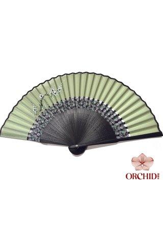 861 plum | Tortoise-shell Bamboo And Silk Handmade Foldable Fan