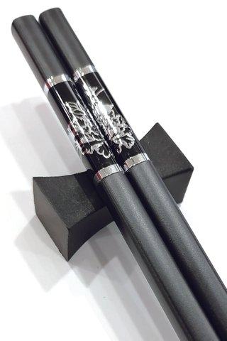 Black Base Silver Peony Design | Alloy Chopsticks And Holders Dining Set