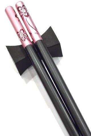 Pink And Black Flower Design | Alloy Chopsticks And Holders Dining Set