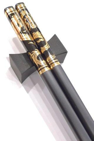Black Base Gold Dragon Design | Alloy Chopsticks And Holders Dining Set