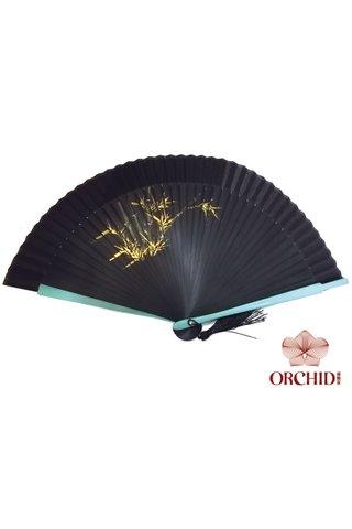 black green base gold bamboo | Handpainting Shiny Flower Design | Handmade Tortoise-shell Bamboo Folding Hand Fan