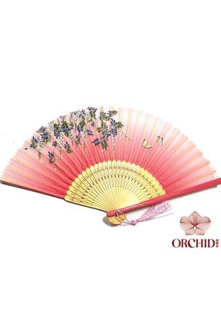 butterfly pink | Handmade Butterfly And Flower Design Bamboo Silk Hand Fan