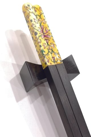 Porcelain Nyonya Design | Ebony Wood Chopsticks and Holders Dining Set