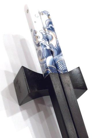 Porcelain Wave Design | Ebony Wood Chopsticks and Holders Dining Set
