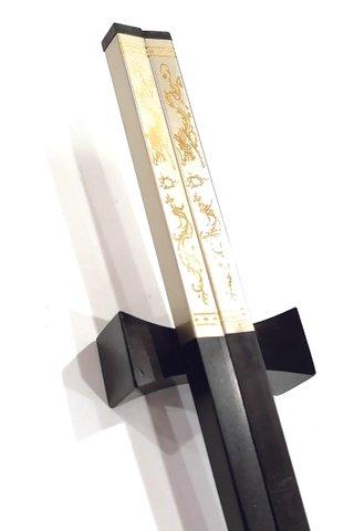 Silver Base Gold Dragon and Phoenix Design | Ebony Wood Chopsticks and Holders Dining Set
