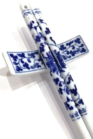 China Flower Design | Porcelain Chopsticks and Holders Dining Set