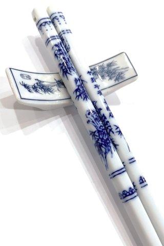 Blue Bamboo Design | Porcelain Chopsticks and Holders Dining Set