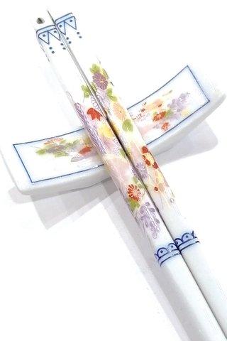 Purple Flower Design | Porcelain Chopsticks and Holders Dining Set