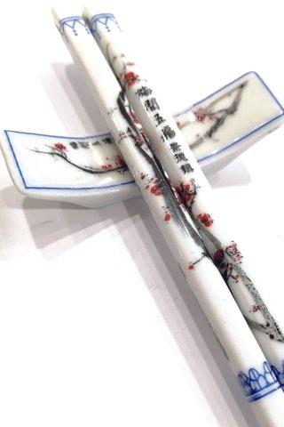 Red Plum Design | Porcelain Chopsticks and Holders Dining Set