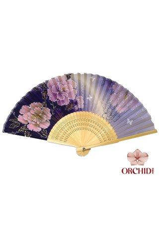 purple peony | 3 Big Flower Design Folding Hand Fan